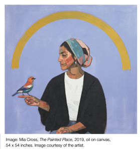 "Image titled ""The Painted Place"" by Mia Cross. Women sitting with a bird perched on her finger against a blue background."