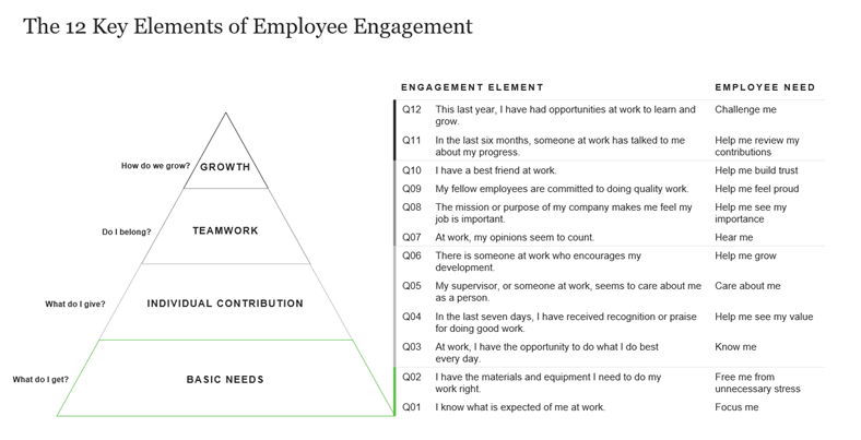 Graphic with a Triangle chart on the left with the words growth, teamwork, individual contribution,  and basic needs on the left and a chart with the list of engagement element questions on the left and employee need on right.